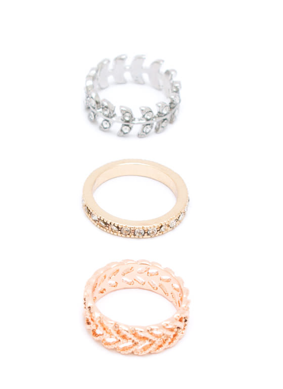 New Leaf Midi Ring Set GOLDSILVER