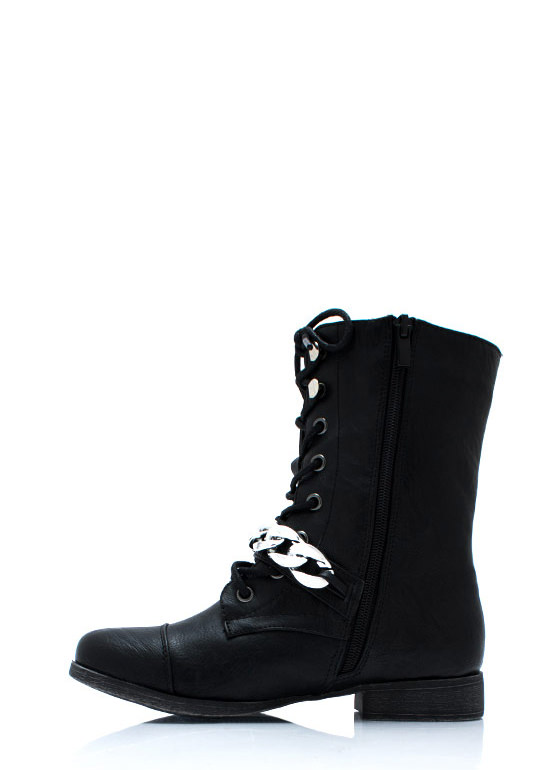 Chain It Up Lace Up Boots BLACK