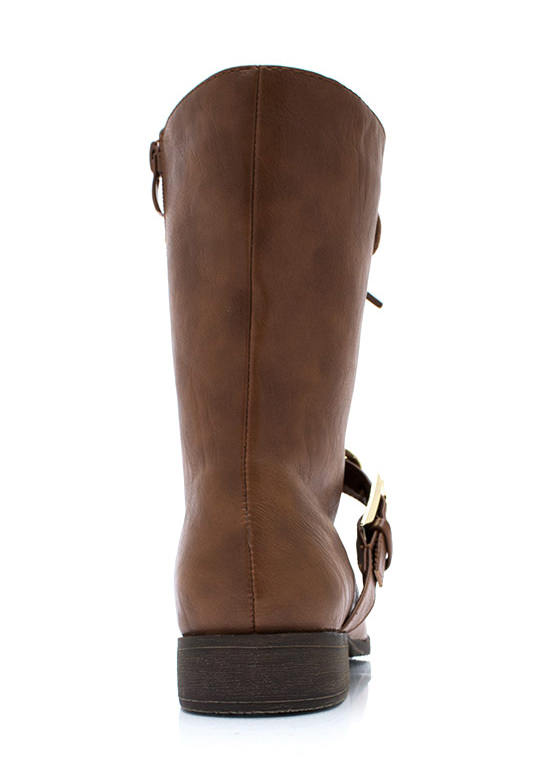 Chain It Up Lace Up Boots CAMEL