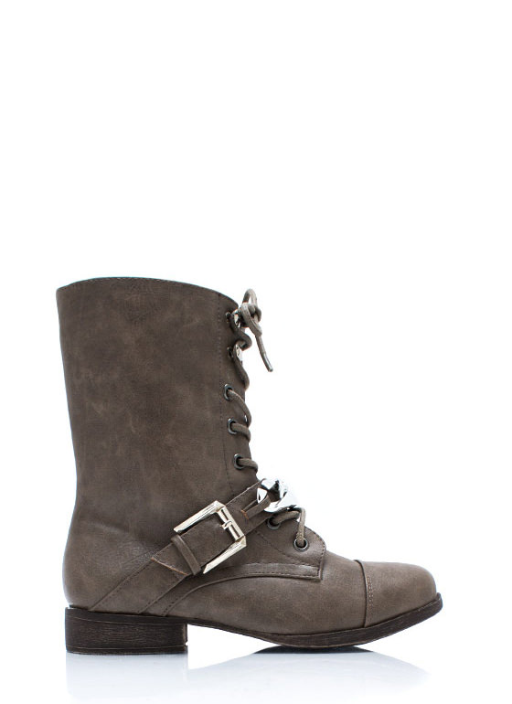 Chain It Up Lace Up Boots TAUPE