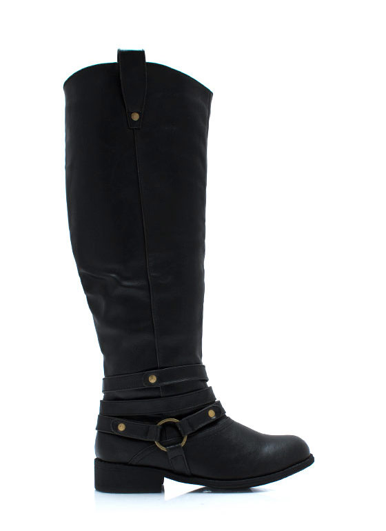 Wraparound Harness Riding Boots BLACK