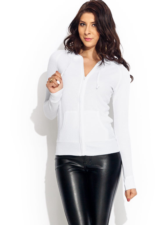 Thermal Zipped Hoodie WHITE