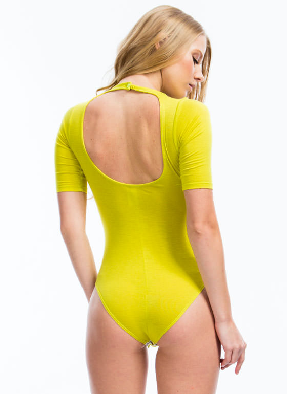 Raise The Bars Cage Front Bodysuit CITRON