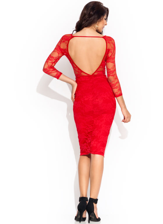 Cut To The Lace Midi Dress RED