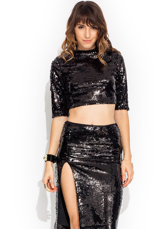 Disco Inferno Mockneck Top BLACK