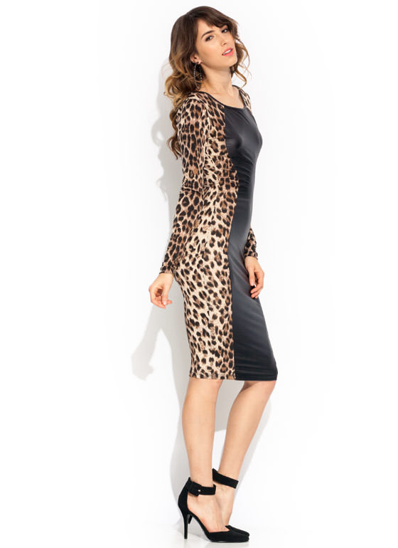 Untamed Leopard Dress BROWNBLACK