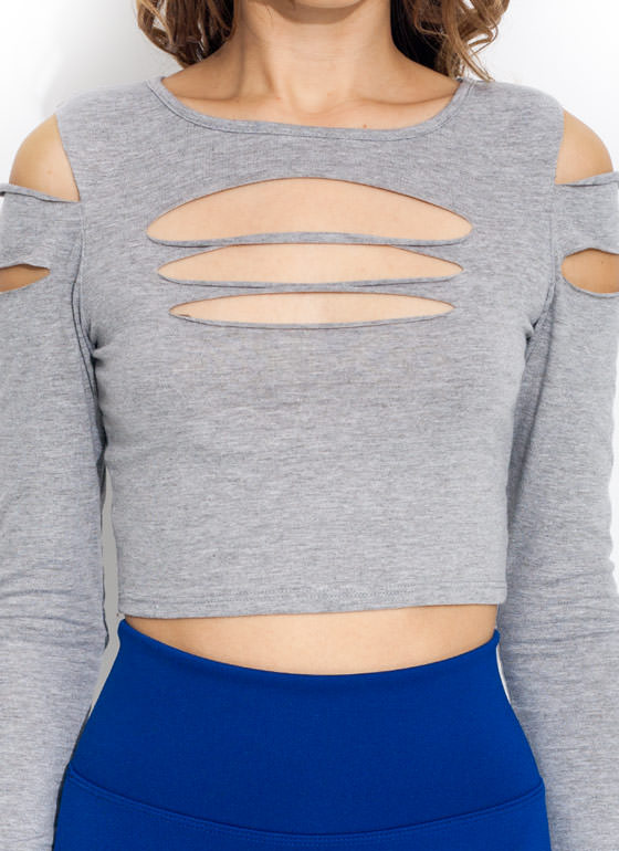 Dashing Slashes Cropped Top HGREY