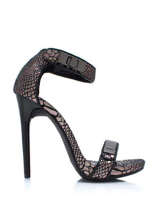 Strappy Reptilian Metallic Heels BLACK