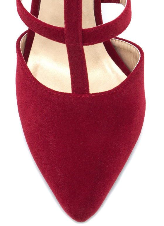 Pointy Windowpane Pumps RED