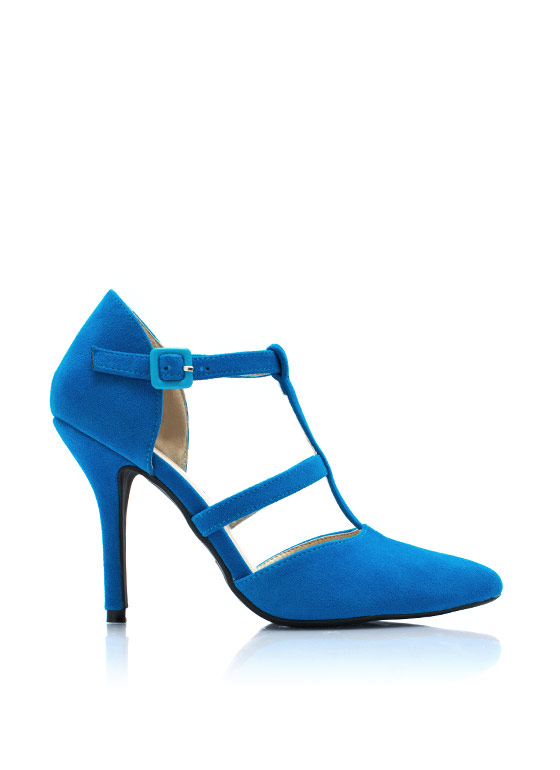 Pointy Windowpane Pumps TEAL (Final Sale)