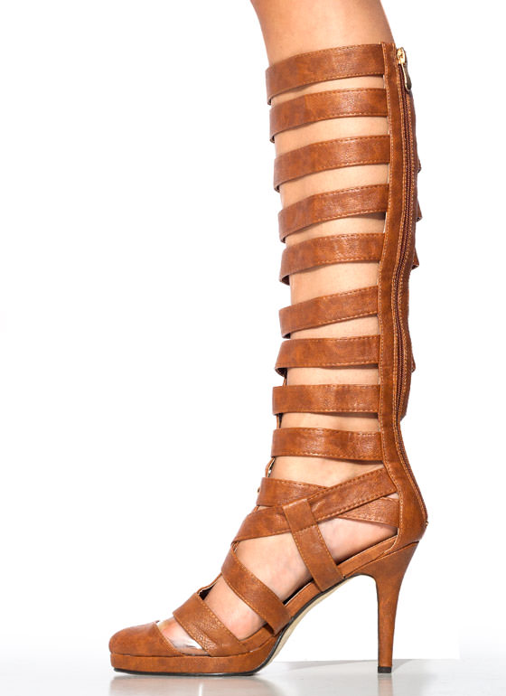 Strap Star Textured Gladiator Heels TAN (Final Sale)