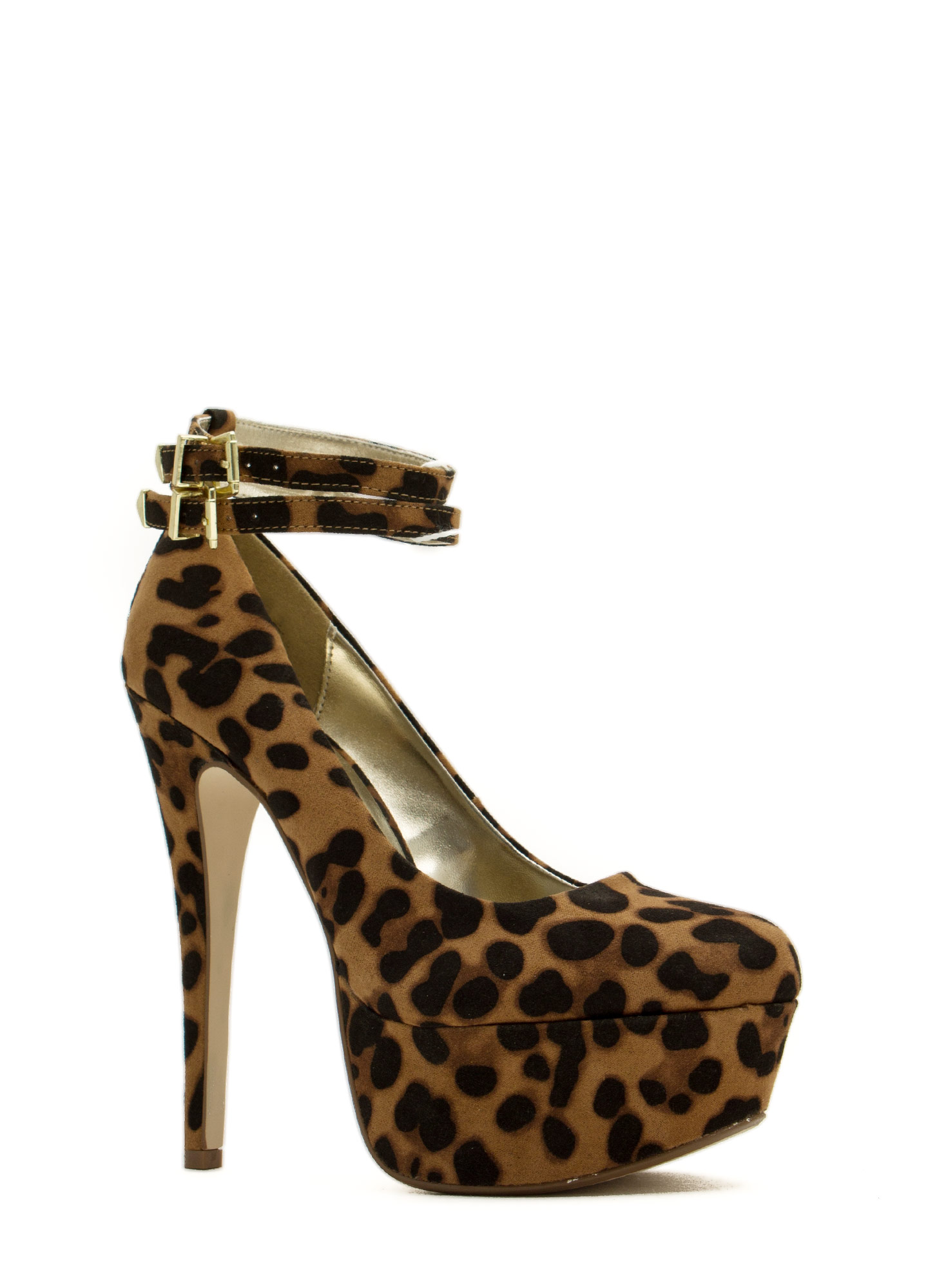 Twice As Nice Buckled Platforms LEOPARD