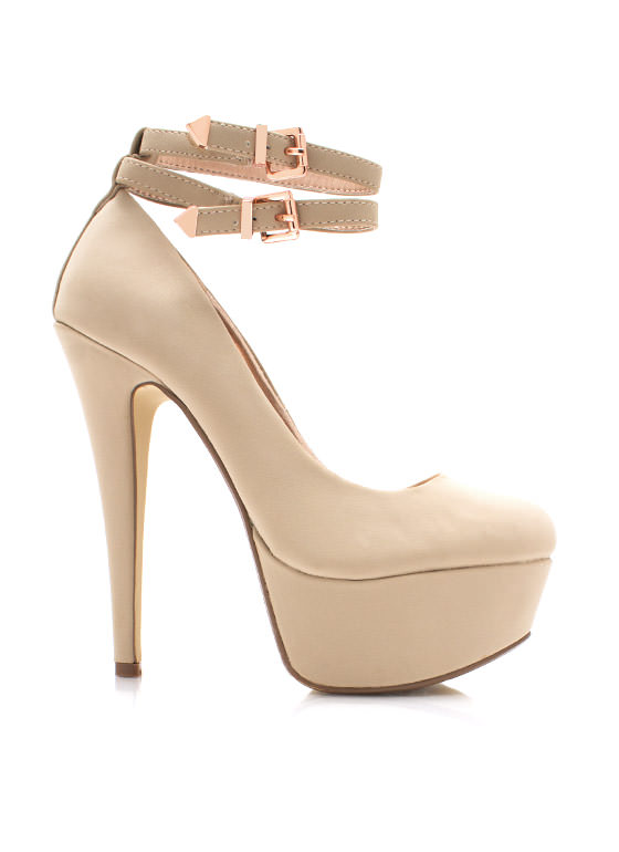 Twice As Nice Buckled Platforms NUDE