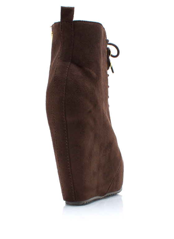 Lace It Up Wedge Booties BROWN