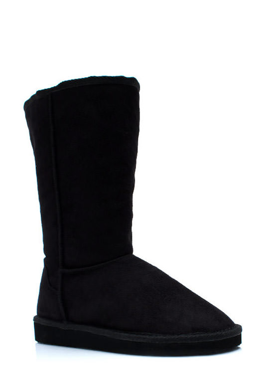 Cozy Faux Suede Boots BLACK