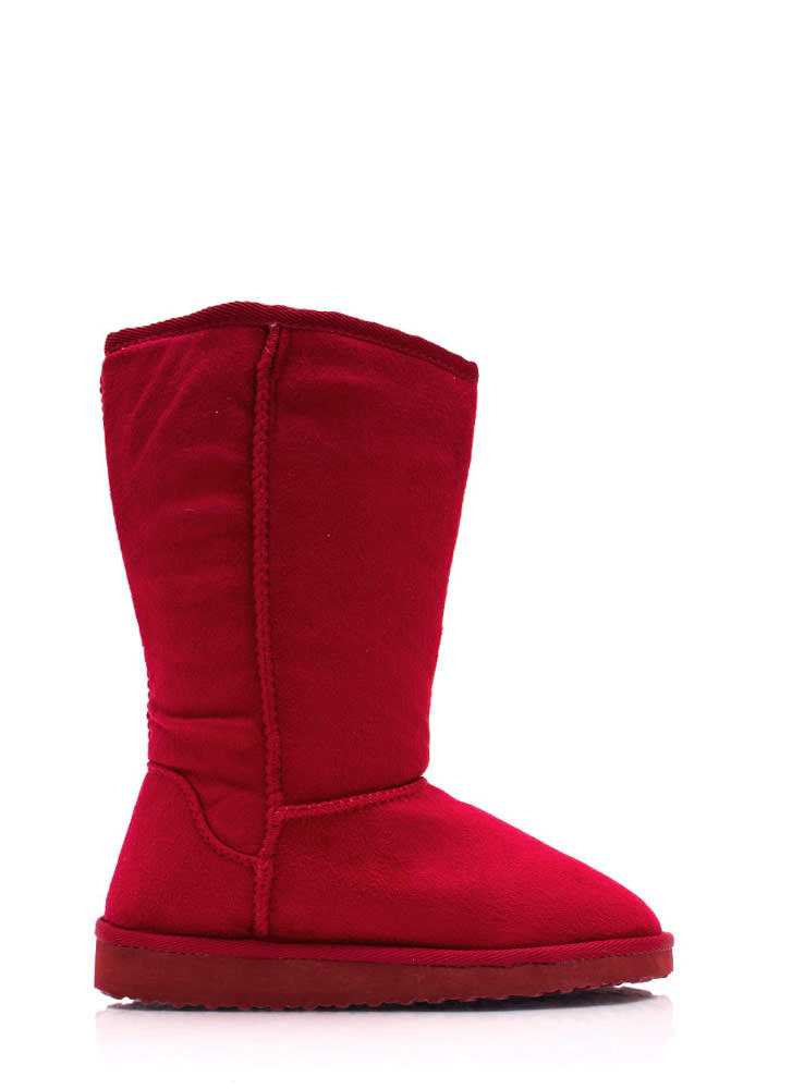 Cozy Faux Suede Boots RED