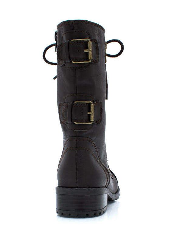 Double Buckle Back Combat Boots DKBROWN