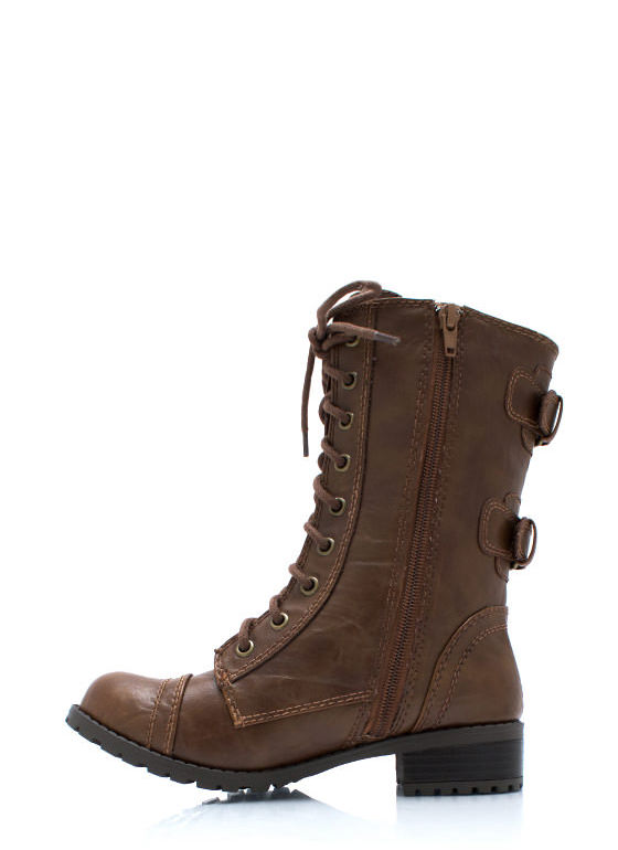 Double Buckle Back Combat Boots TAN