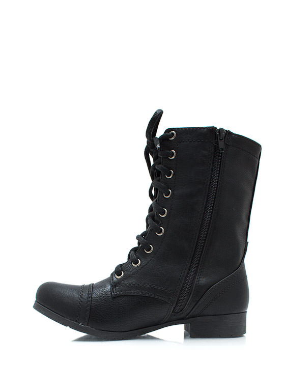 In Full Combat Boots BLACK