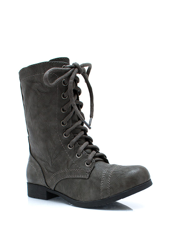 In Full Combat Boots GREY (Final Sale)