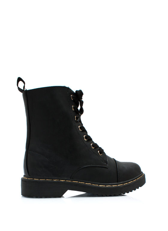 Smooth Transition Lace Up Boots BLACK