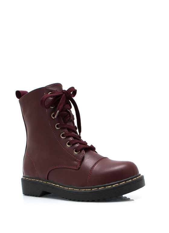 Smooth Transition Lace Up Boots BURGUNDY