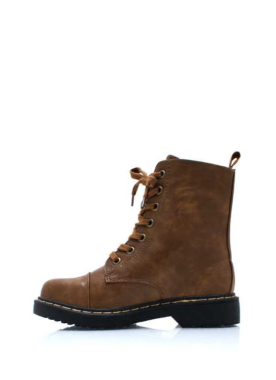 Smooth Transition Lace Up Boots CAMEL