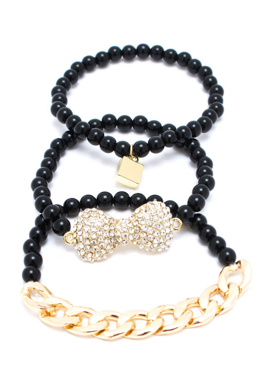 Charming Faux Pearl Bracelet Set BLACK