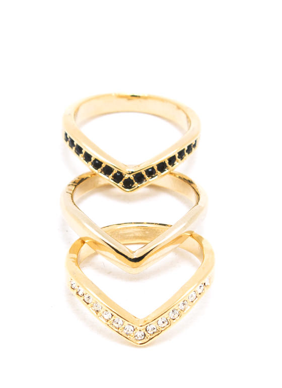 Glamour Chevron Ring Trio GOLD