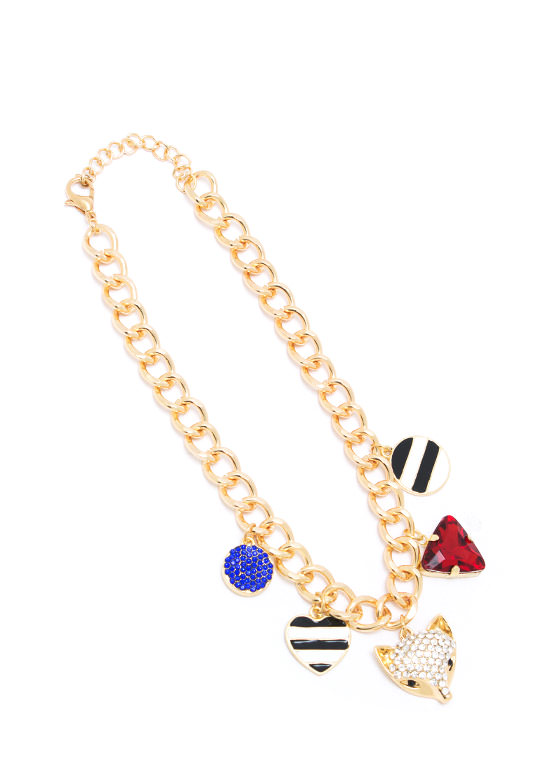 Foxy Lady Charm Necklace GOLDMULTI