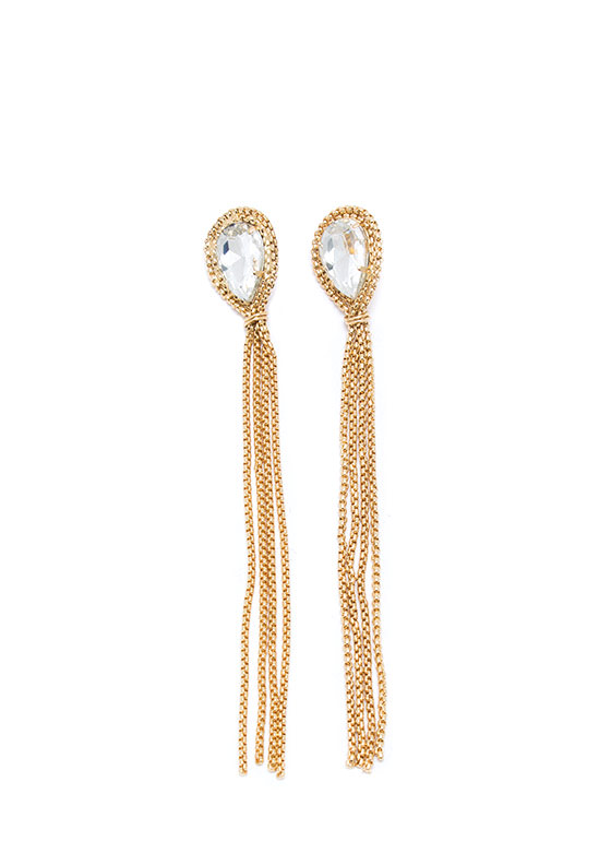 Show Your Facets Chain Tassel Earrings GOLDCLEAR