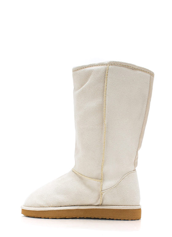 Plain And Tall Faux Shearling Boots BEIGE