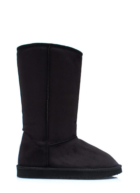 Plain And Tall Faux Shearling Boots BLACK