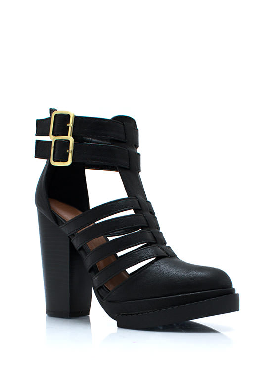 Strappy Go Lucky Chunky Booties BLACK