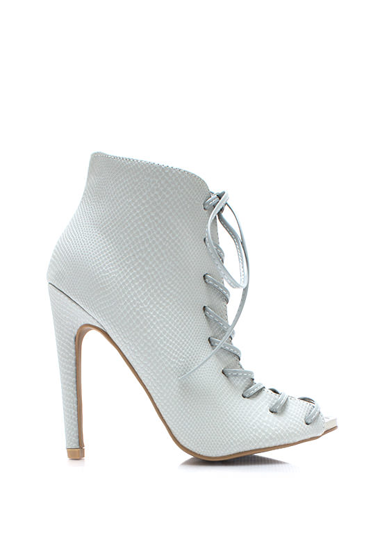 Snaky Corset Booties GREY