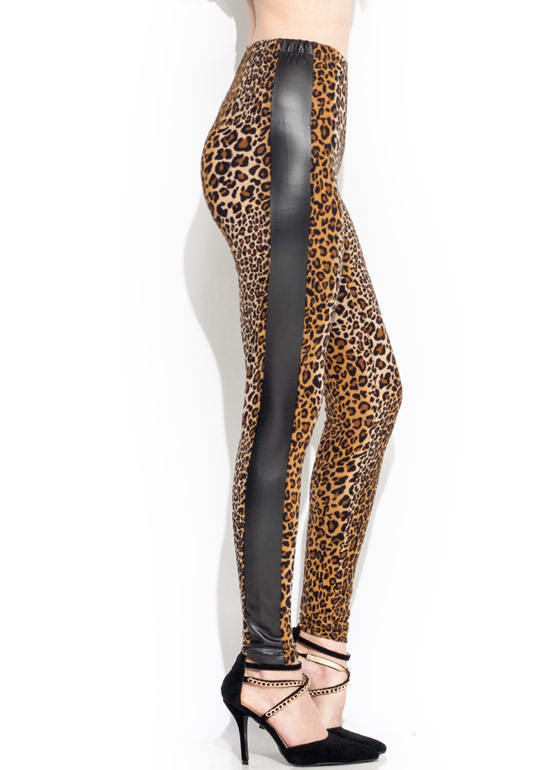 Mixed Media Leopard Leggings BLACKBROWN