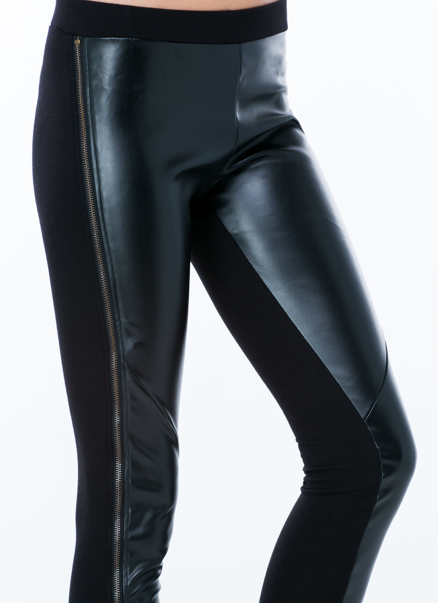 Give Em Zip Coated Leggings BLACK