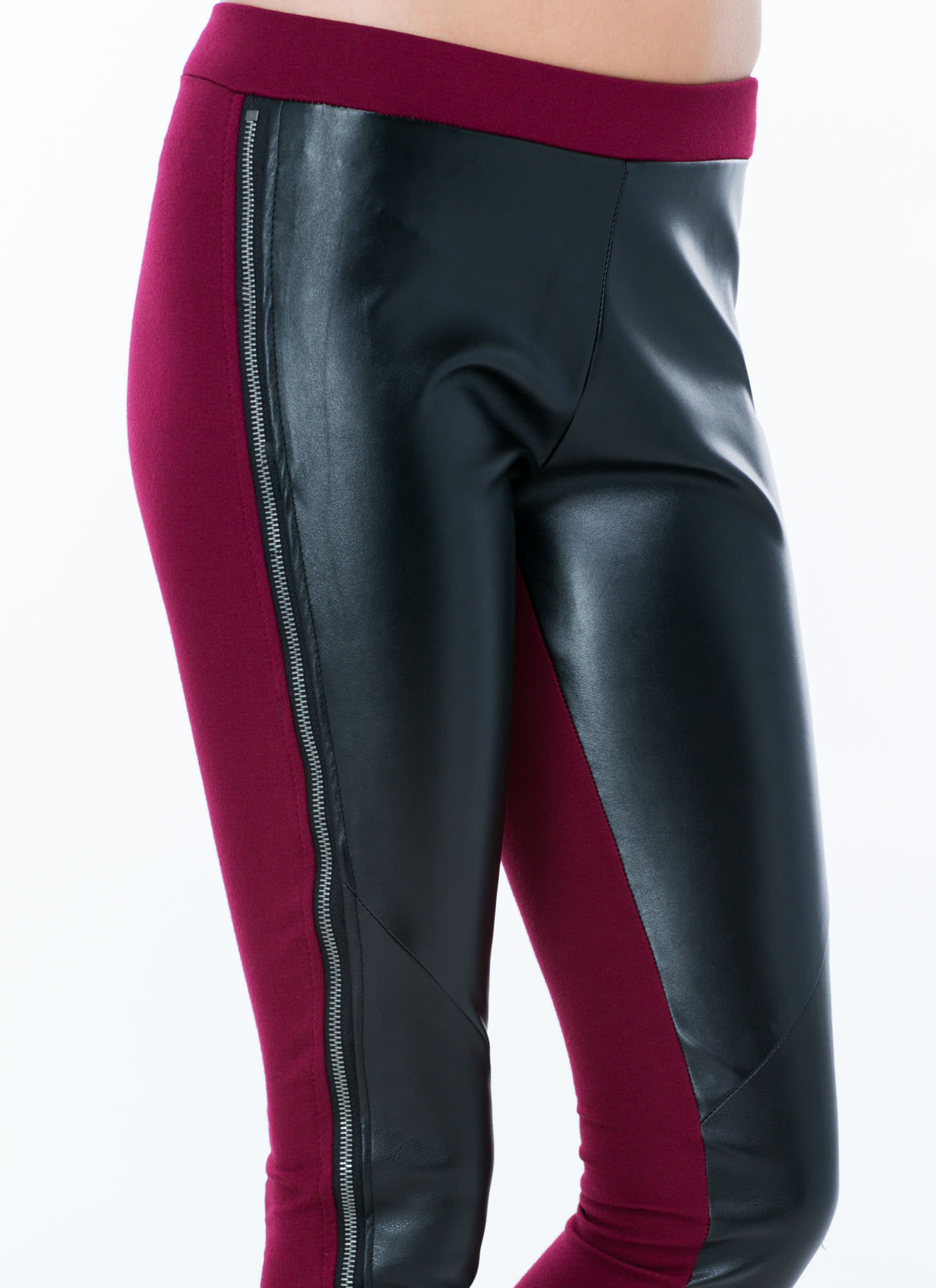Give Em Zip Coated Leggings BURGUNDY