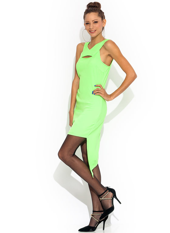 Slit Right In Asymmetrical Dress NEONGREEN
