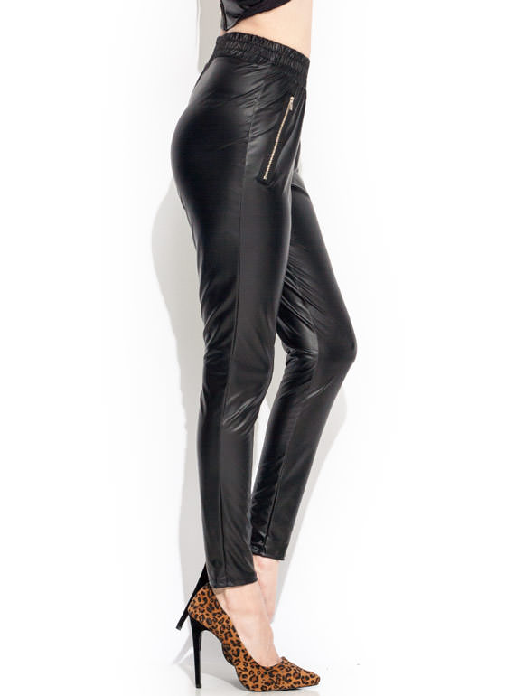 So Slick Zipper Jogger Leggings BLACK