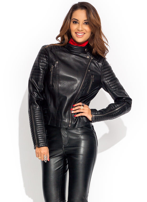 Moto Race Faux Leather Jacket BLACK