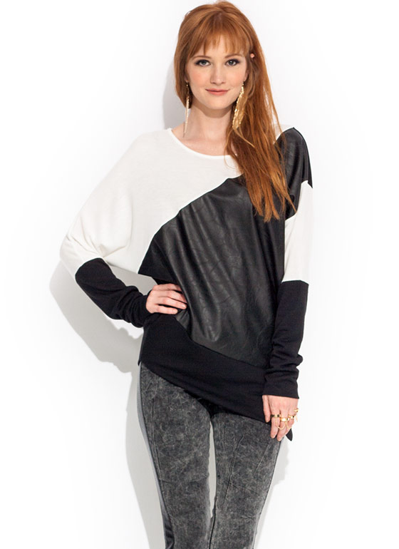 Faux Show Asymmetrical Sweater BLACKIVORY