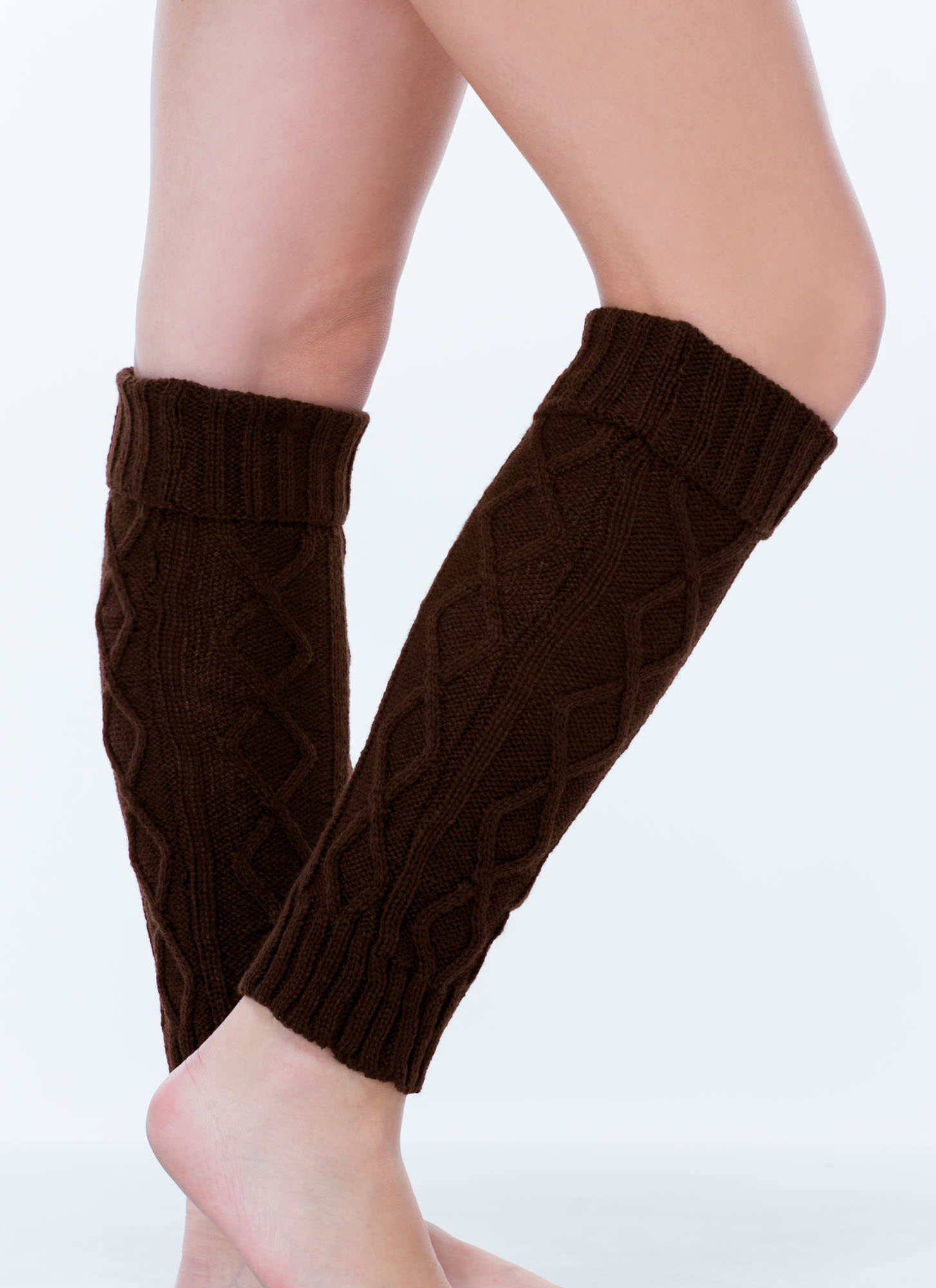 Gam Squad Foldover Knit Legwarmers BROWN (Final Sale)