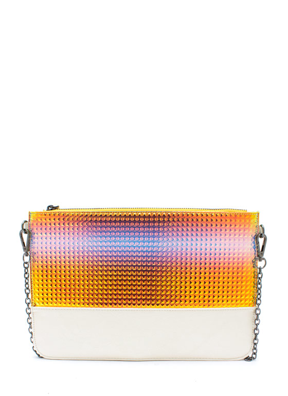 Iridescent Pyramid Clutch OPAL