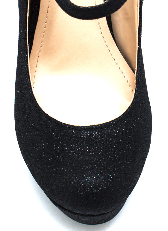 Metallic Diva Mary Jane Pumps BLACK