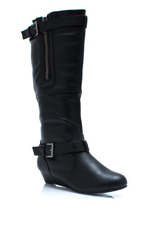Zipped Up Wedge Boots BLACK (Final Sale)