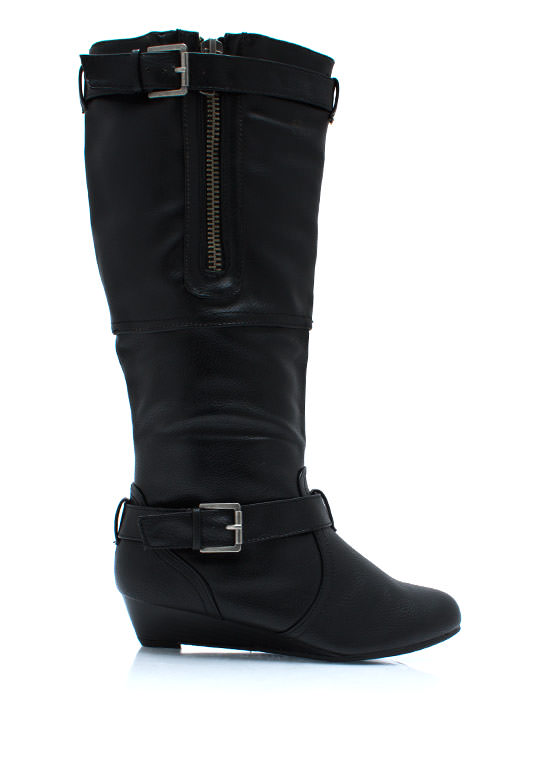 Zipped Up Wedge Boots BLACK