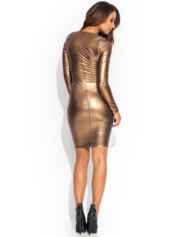 Precious Metals Ruffle Dress BRONZE