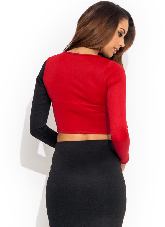 Block Party Cropped Top RED