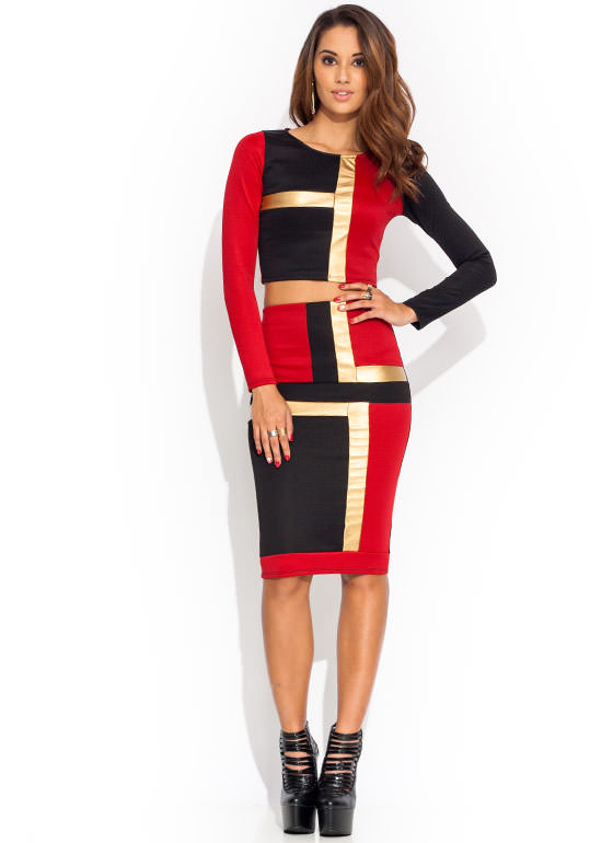 Block Party Pencil Skirt RED